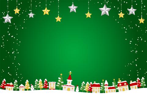 明星裝飾與聖誕雪城背景水平