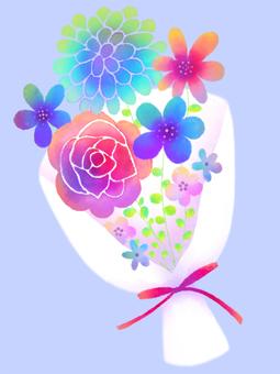 五顏六色的水彩花束材料