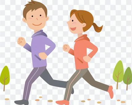 男人和女人慢跑,背景