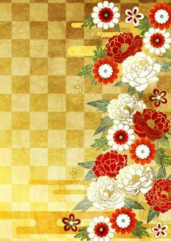 水彩風格牡丹和日本花和雲方格的背景金垂直