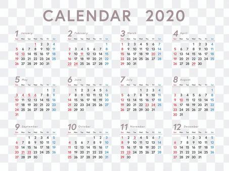 1年日曆2020