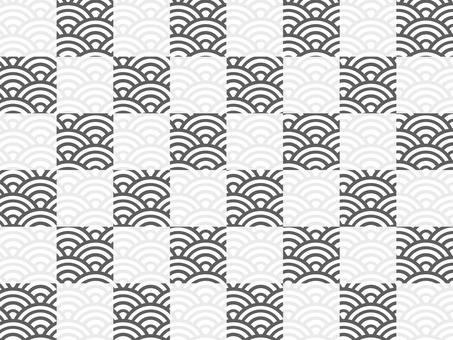 【日紋】棋盤格x青海波:單色