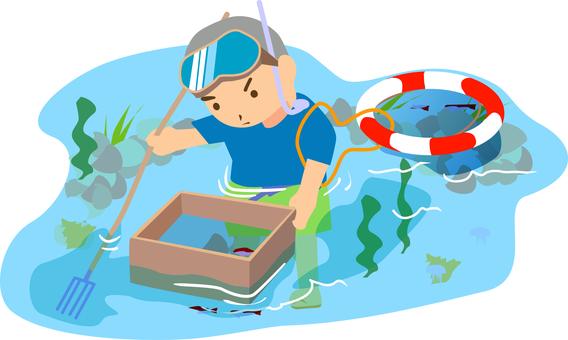 Rocky shore fish catching box glasses