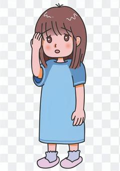 一個看起來生病的女孩