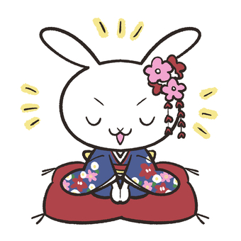 Rabbit greeting with furisode