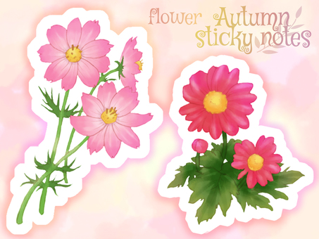 Watercolor autumn flower background / icon set