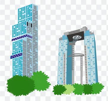 Osaka landmark skyscrapers