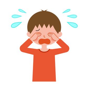 Crying boy upper body