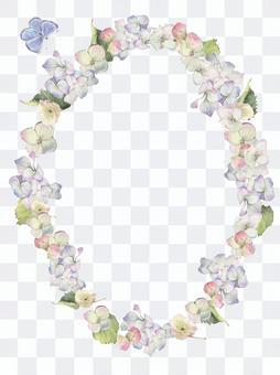 Flower frame 90 - Hydrangea flower frame frame oval shape