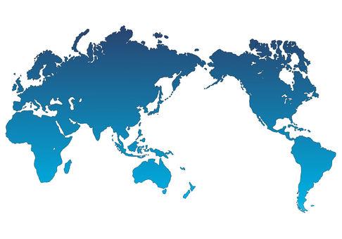World map light blue