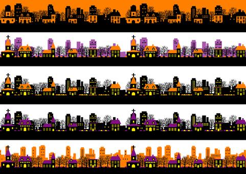 Cityscape line set for Halloween