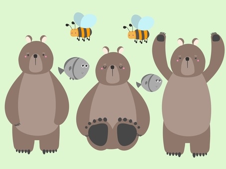 Bear, bee, fish set