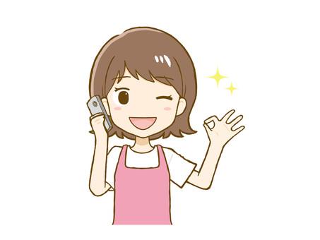 移動ok標誌圍裙女(上身)