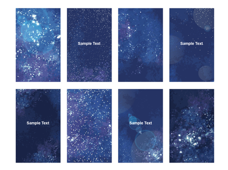 Space pattern business card size message card set