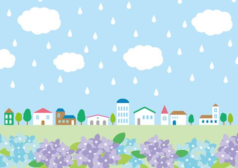 Rainy season material 024 Townscape