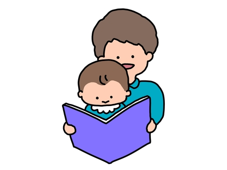 Storytelling of picture books Father and son