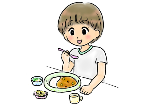 孩子們吃米飯