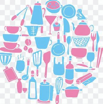 廚具剪影顏色設置圓的形狀
