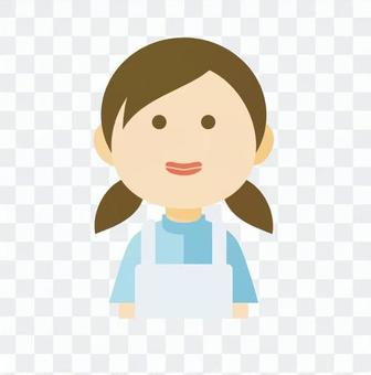 A white apron lady