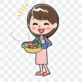 Young woman in a cooking pot