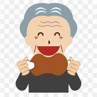 Elderly people with a strong appetite (grandpa)