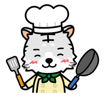 白虎廚師上半身帶煎鍋