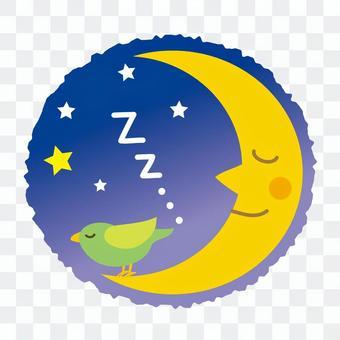 月亮和一只小鸟