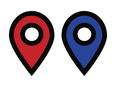 Map pin pointer red blue material