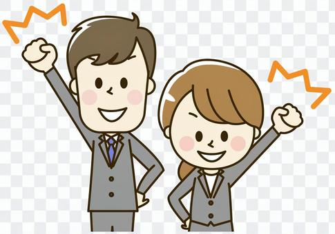 Male and female office worker wearing suit 2-2-2 o