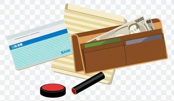 錢包和存摺和密封(藍色