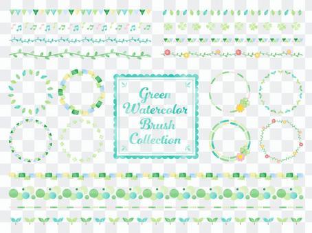 水彩風格圖案筆刷套裝/鮮綠色自然色