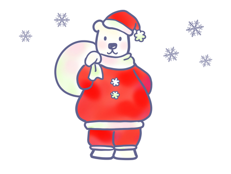 Polar bear Santa carrying gifts