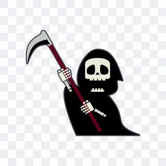 Illustration of cute grim reaper attacking