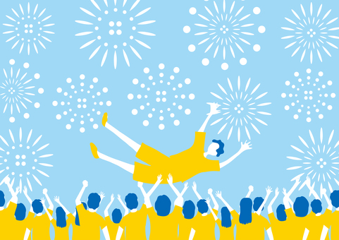 A large number of people raising their bodies Fireworks background