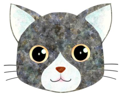 貓臉(灰/白)2