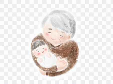 爺爺抱著他的孫子蠟筆觸摸