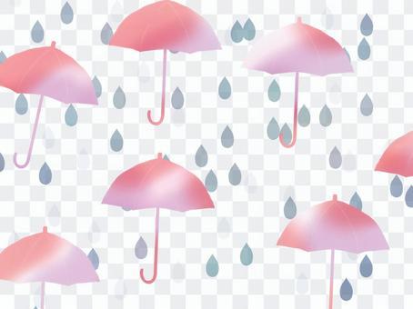 隨機的雨傘和水滴背景使雨變得很有趣