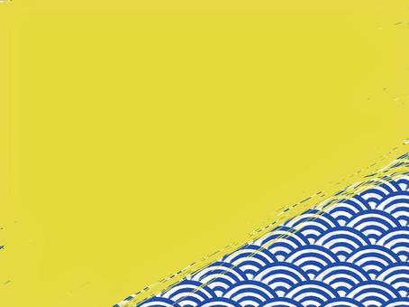 毛筆寫青海波浪填充背景:右下:靛藍x金色
