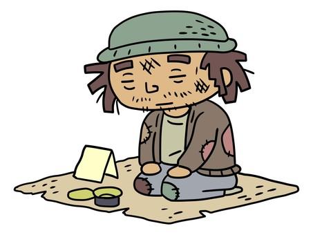 無家可歸的乞討