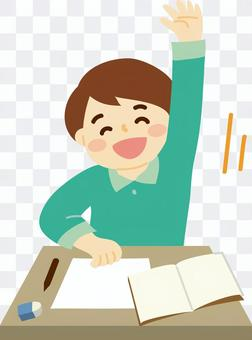 一個孩子舉起他的手,並在課堂上講話的插圖