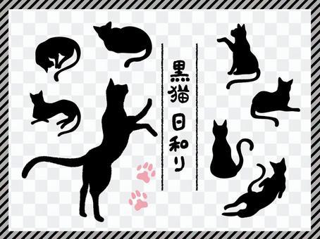 Black cat pose illustration set