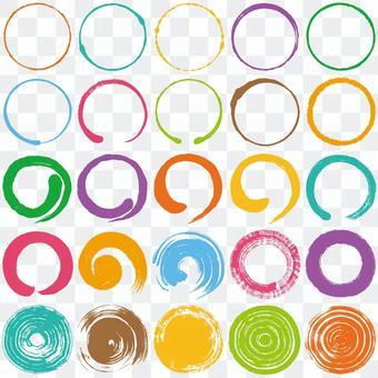 圈子刷子例證五顏六色的集