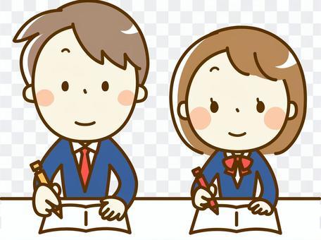 學習的男孩和女孩