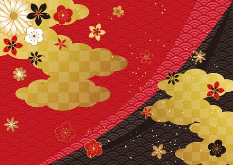 日本圖案和雲彩_黑紅色背景 2840