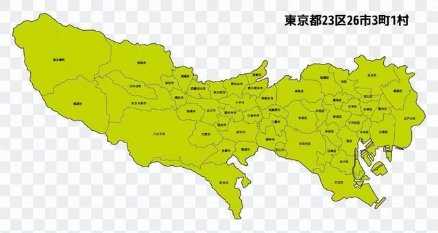 東京都地圖23區26個城市3個鎮1個村