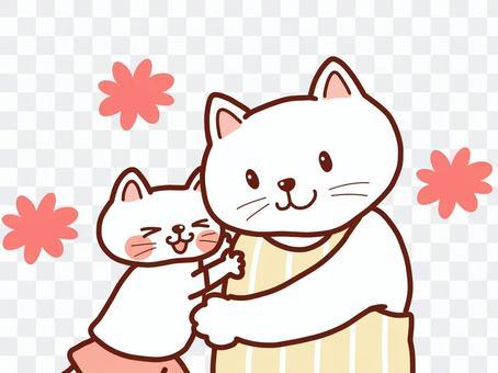 ハグする猫の親子