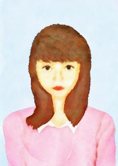 一位年輕女士的畫像(水彩畫)