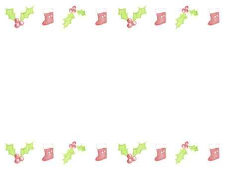 Holly and socks Christmas frame top and bottom