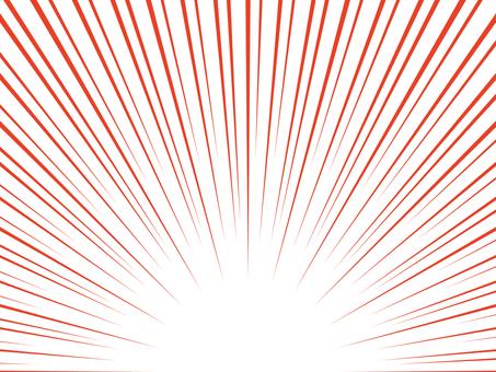 下對齊卡通風格簡約集中線:紅色