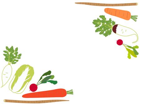 冬季蔬菜架 胡蘿蔔、大白菜、蘿蔔等。